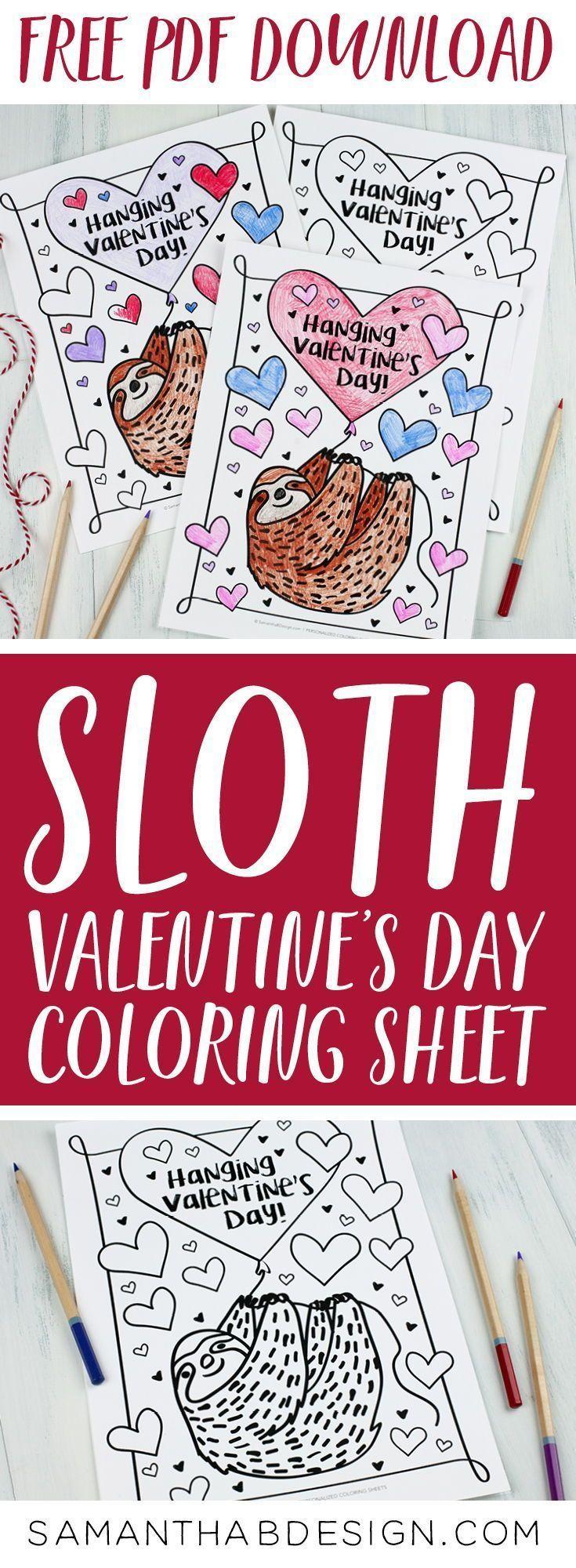 liebenswert faultier malvorlage zum valentinstag