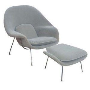 Designer Modern Eero Saarinen Womb Chair Ottman In Light Gray With 30 Day Money Back Guarantee Chair And Ottoman Set Womb Chair World Market Chair