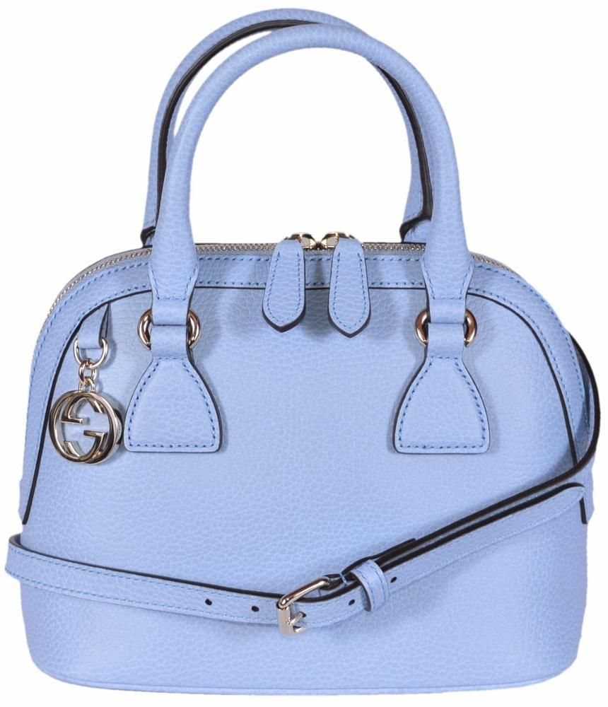 c2cfed8097c NEW Gucci 449661 Blue Leather 2-Way Convertible GG Charm Small Dome Purse   Gucci  ShoulderBag