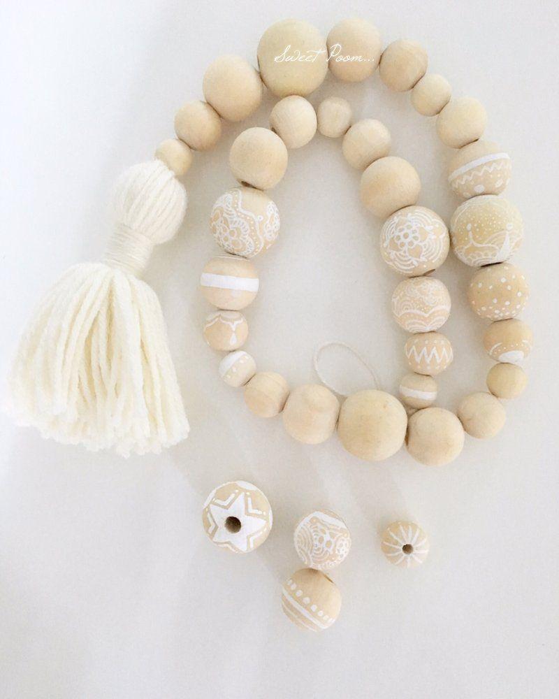poom boho perles addict pinterest bois guirlande et deco boheme. Black Bedroom Furniture Sets. Home Design Ideas