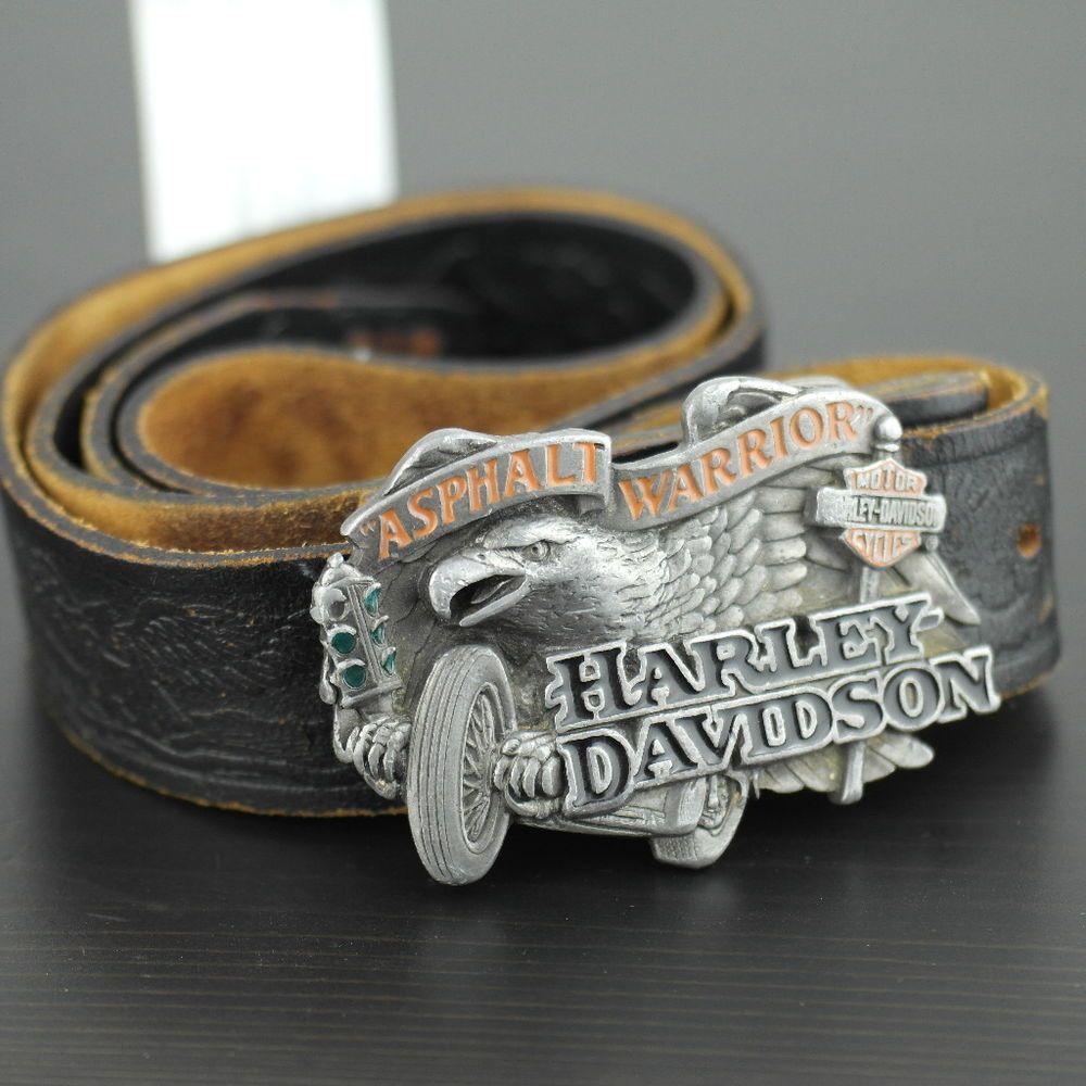1992 baron usa harley davidson enamel buckle and genuine