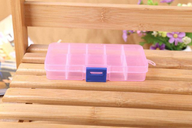 4 Colors 10 Grids Adjustable Jewelry Tool Box Beads Pills Organizer