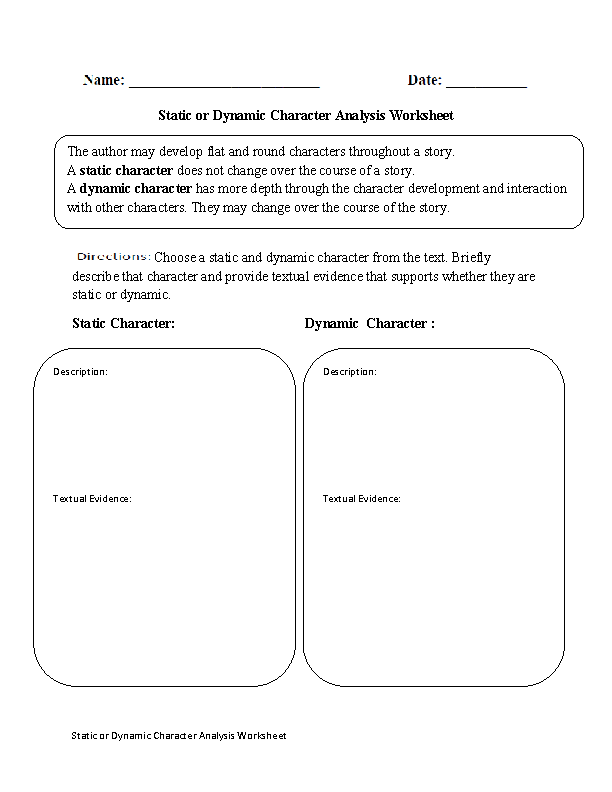 Static Or Dynamic Character Analysis Worksheet Staticdynamic