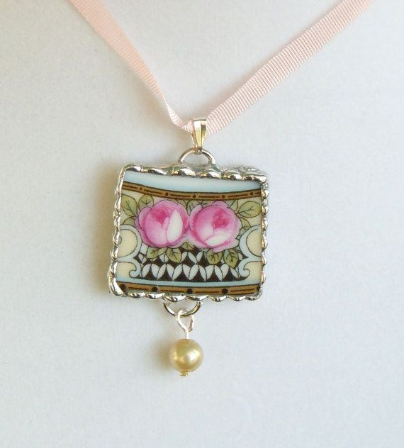 Vintage Broken China Soldered Necklace Pendant Charm  5.00