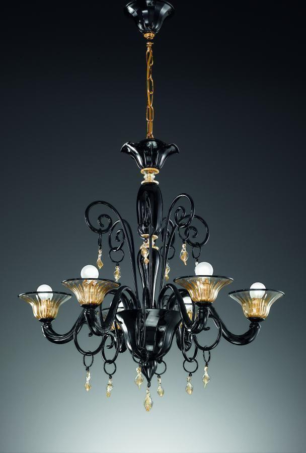 Vetrilamp Lampadario in vetro di Murano 972/6NE