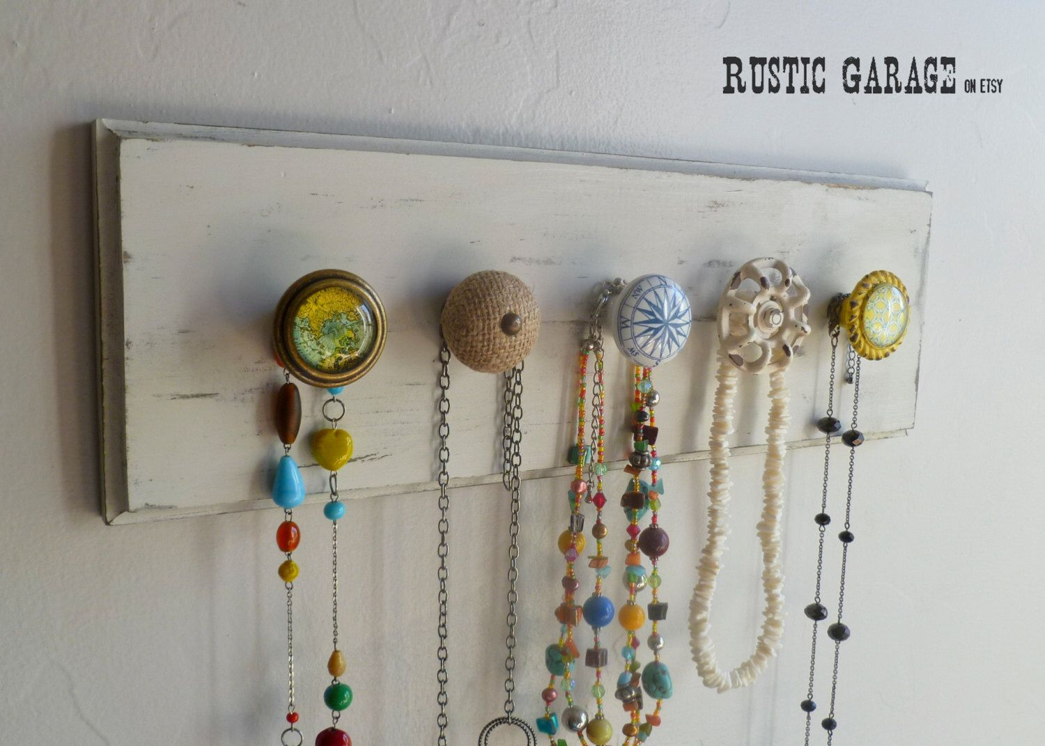 Travel Themed Nautical Rustic Knob Necklace Holder Eclectic Shabby