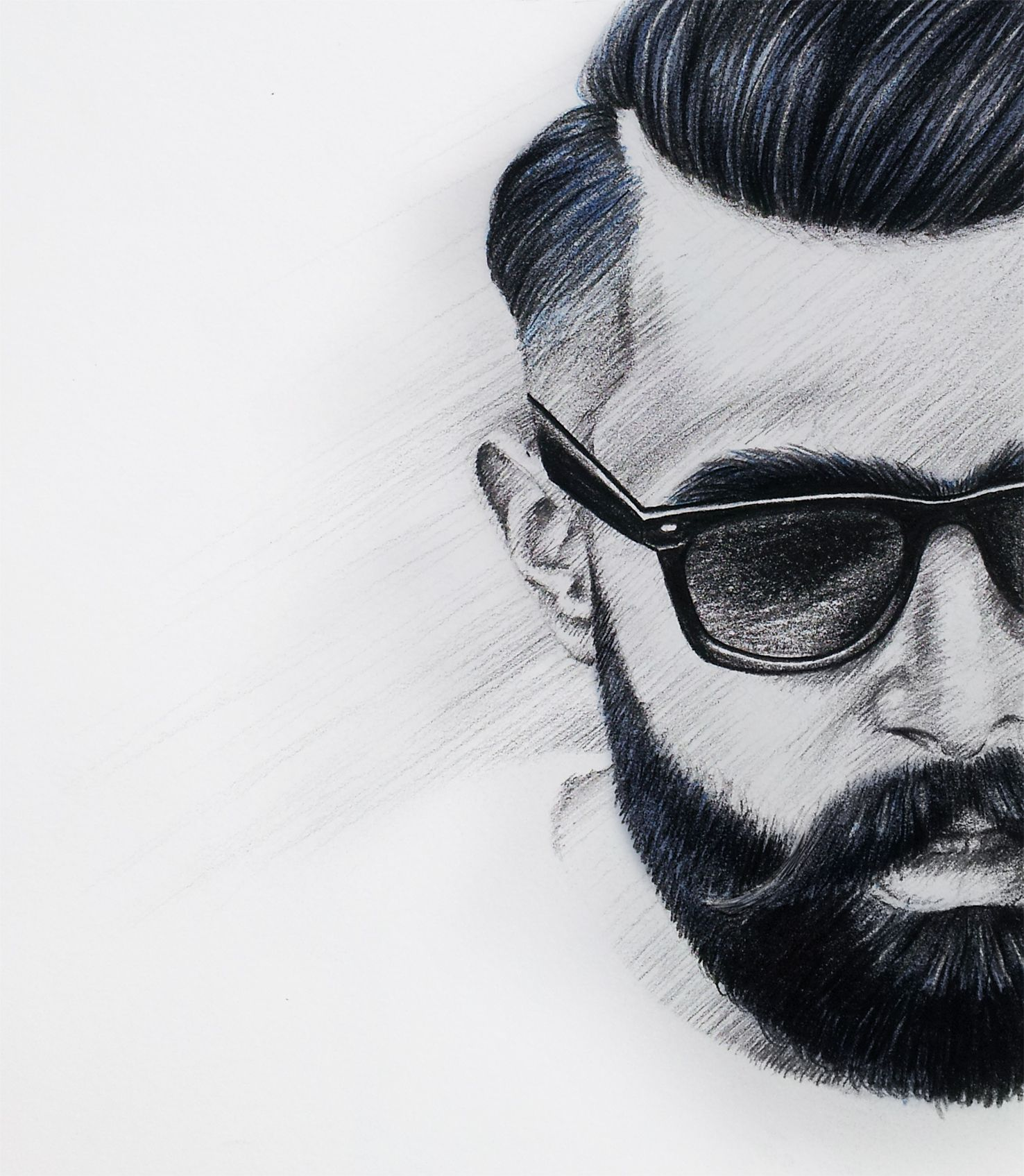 Drawing Man With Beard Black White Blue Www Xeniagesthuese