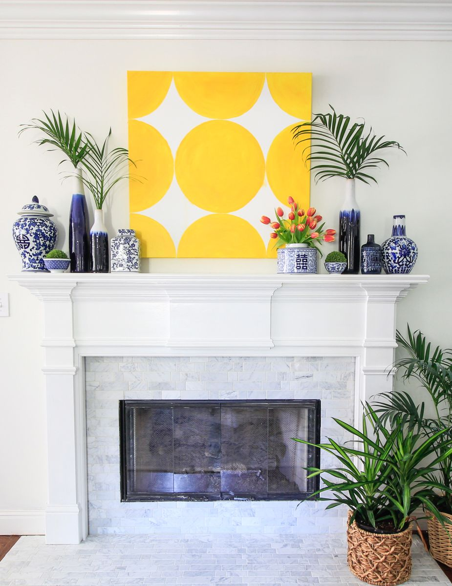Yellow and blue mantel for spring | Mantels | Pinterest | White ...