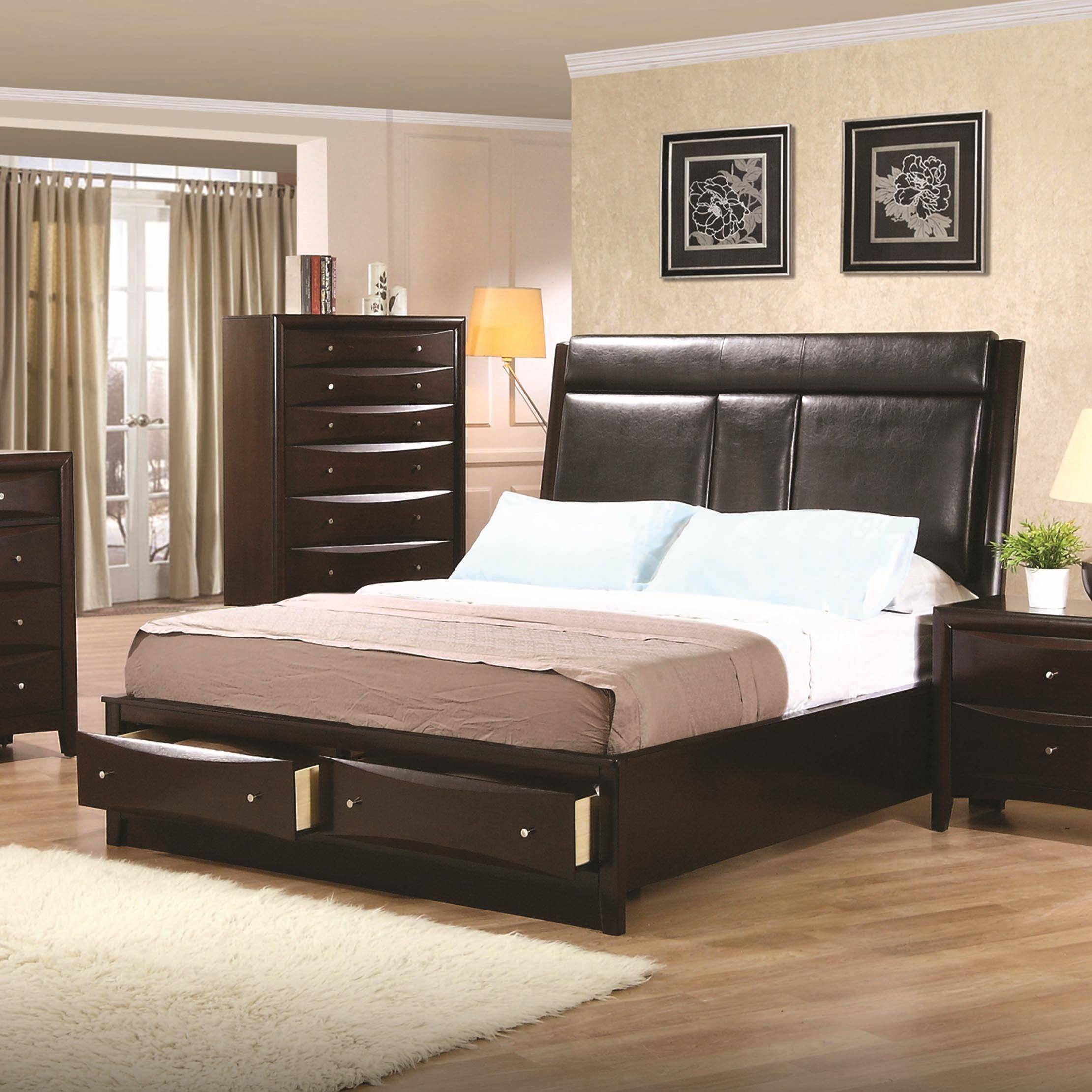 Phoenix Queen Storage Bed By Coaster It Has Cup Holders Bett Mobel Bett Mit Schubladen Schlafzimmer Design