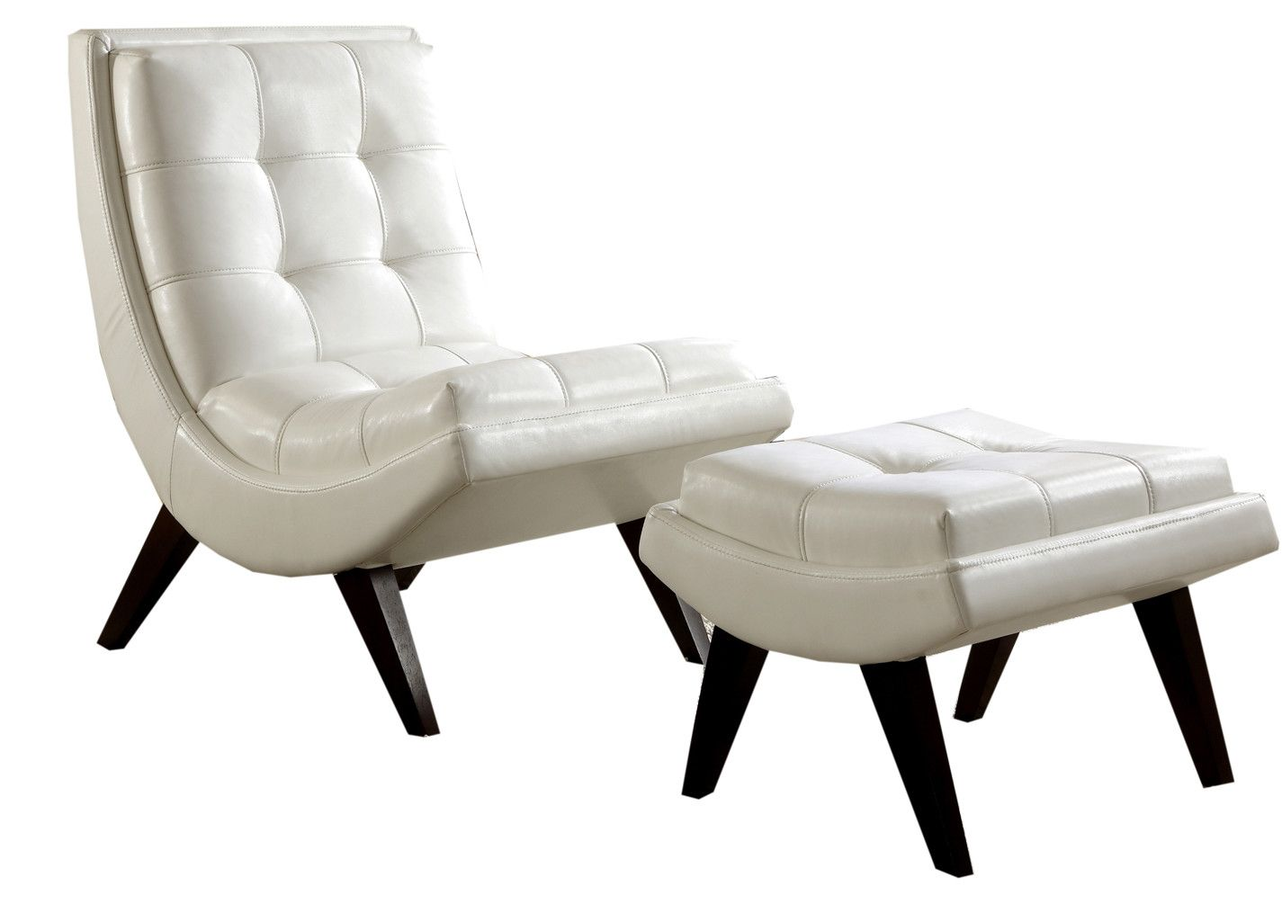 black and white accent chair with ottoman