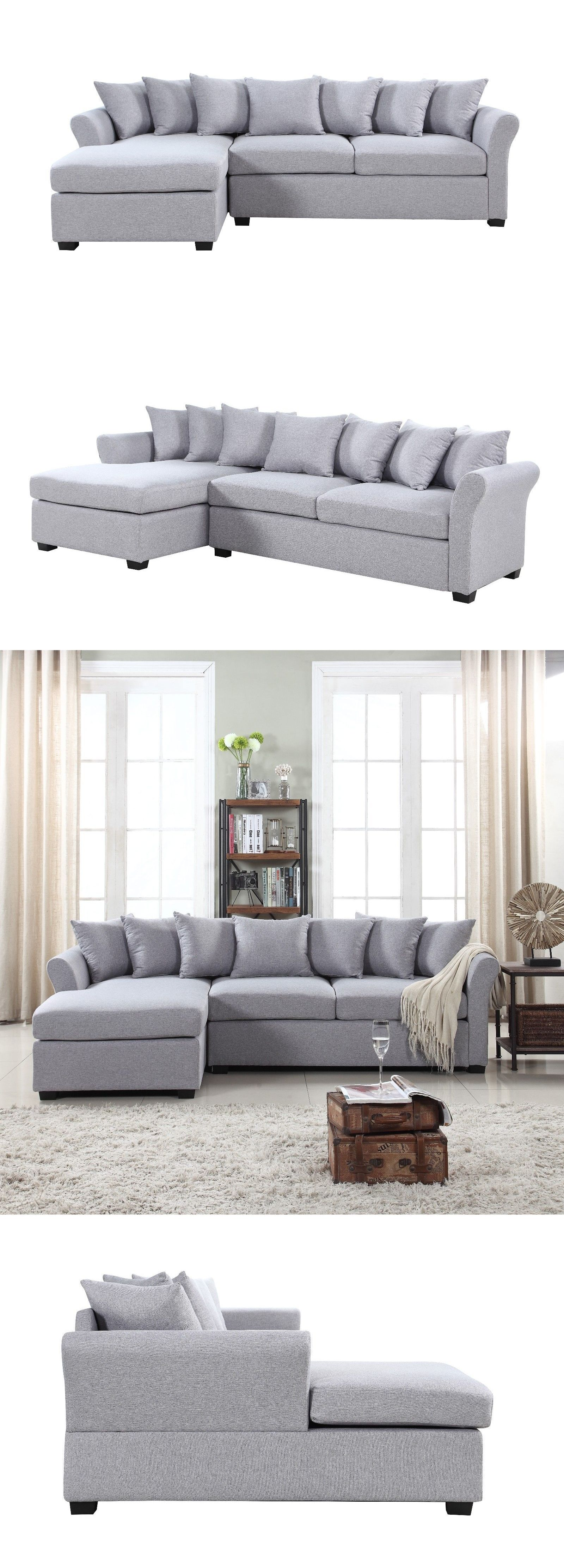 Sofas Loveseats and Chaises Modern Linen Sectional