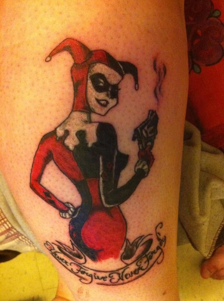 My harley quinn tattoo with my favorite quote from for Sweeney todd tattoo
