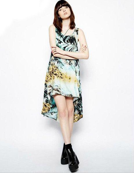 Tiger Print Swallowtail Hem Dress [2637] – Obuzu