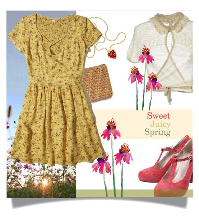 """Sweet juicy spring"" by shelliquinn ❤ liked on Polyvore featuring Calvin Klein, AERIN, Antonio Marras, Kenneth Jay Lane, Hollister Co., Spring and yellowdress"