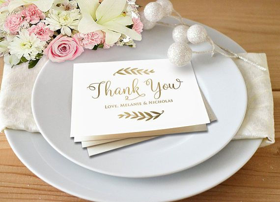 Gold Thank You Thank You Card Template Wedding Thank You Wedding - microsoft thank you card template