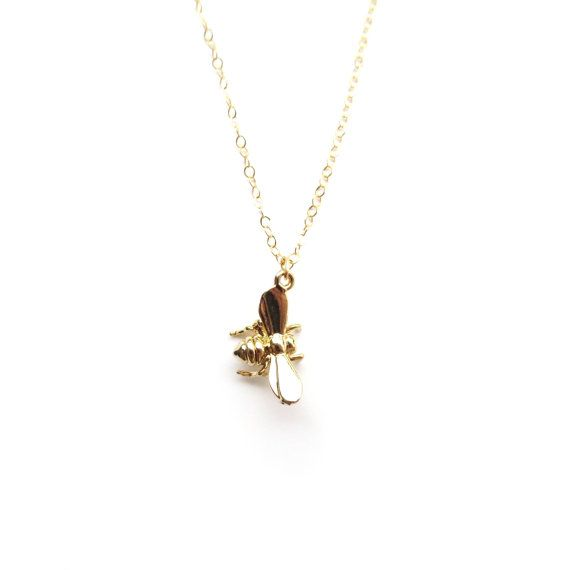 Tiny bee necklace gold bee pendant bumble bee jewelry dainty gold tiny bee necklace gold bee pendant bumble bee jewelry dainty gold necklace delicate gold aloadofball Images