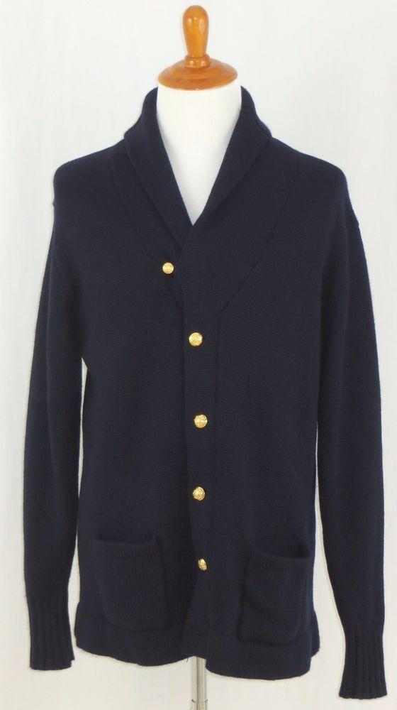Ralph Lauren 100% Cashmere Sweater Cardigan Navy Gold Crested ...