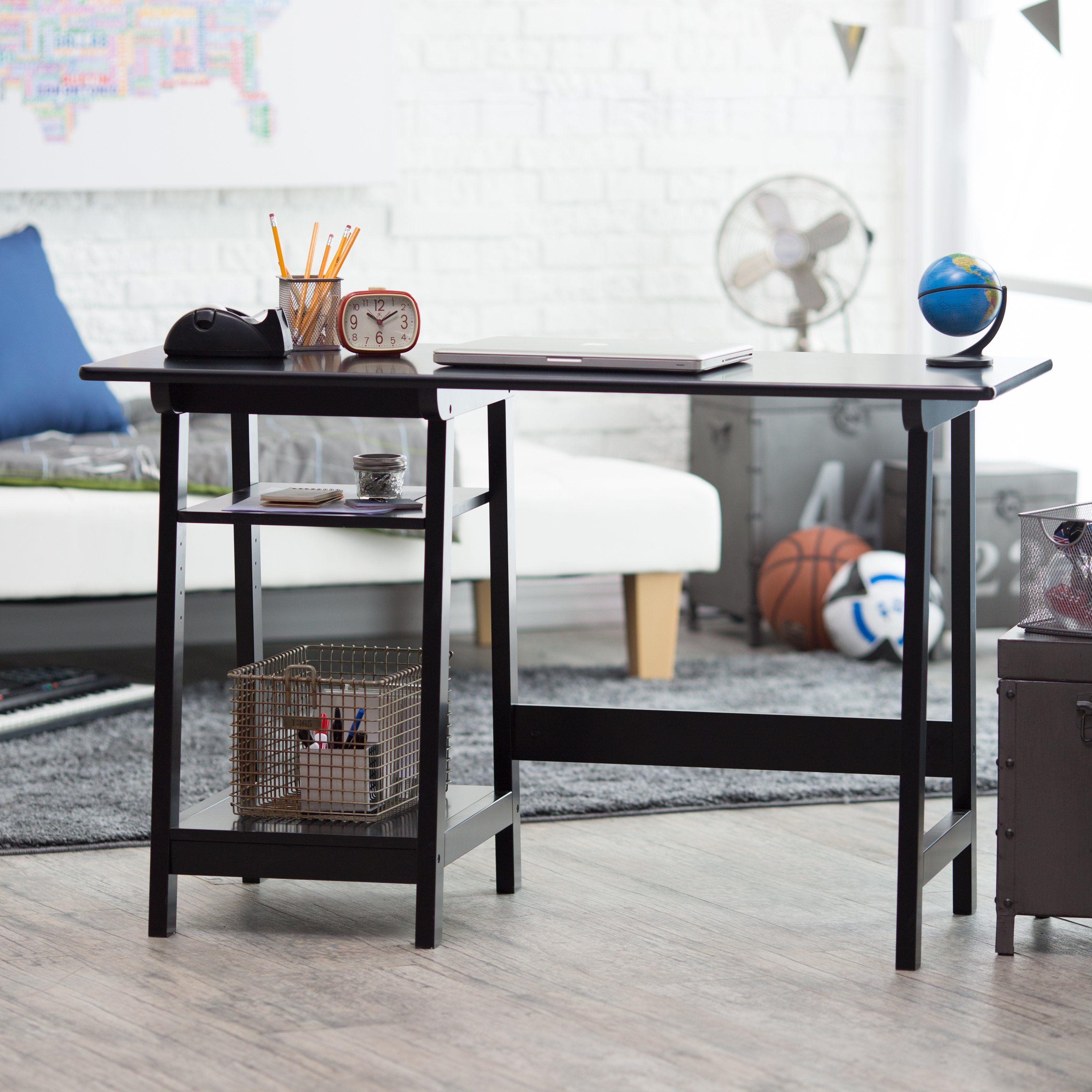 Manhattan open computer desk with adjustable shelf black from