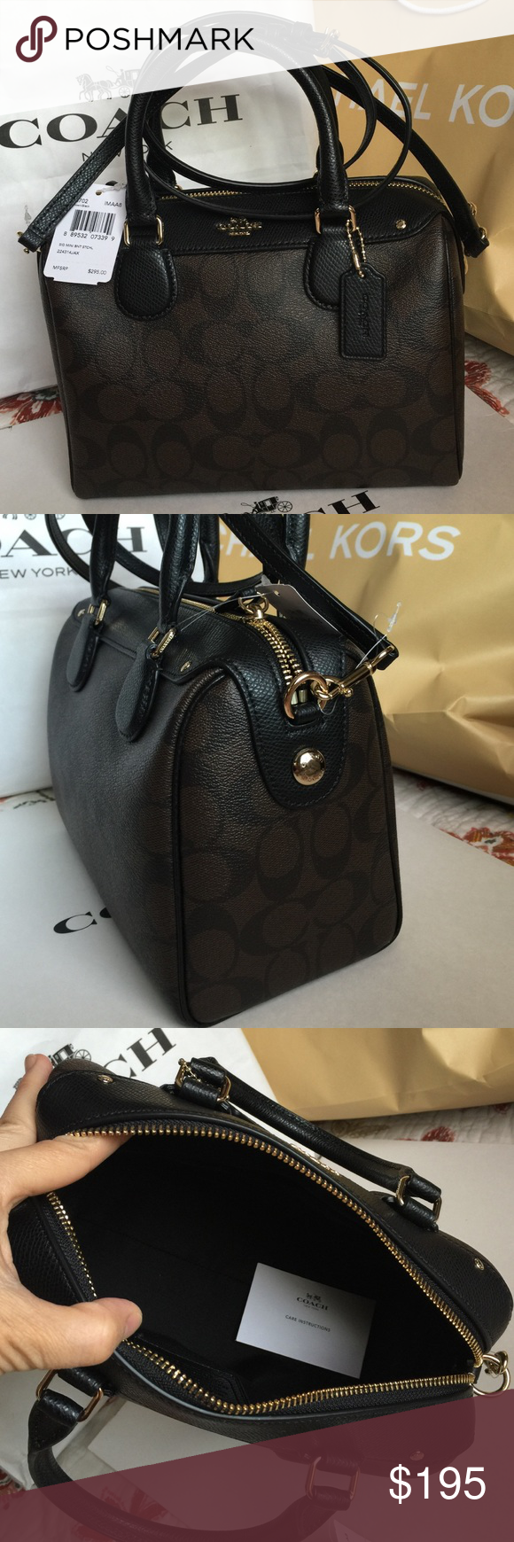 Coach Purse 100% Authentic Coach Purse, brand new with tag!Black/Dark Brown color. Coach Bags Crossbody Bags