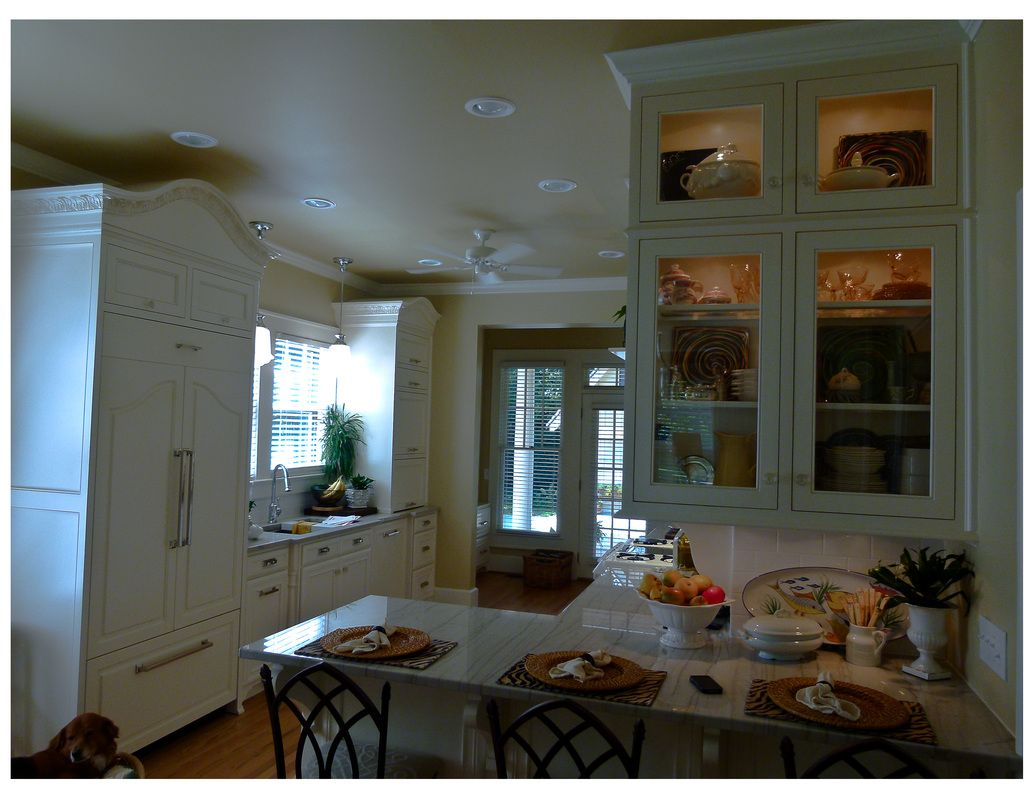 Hidden Refrigerator White Cabinets Breakfast Bar Custom House Designs By Lang Smith Columbia