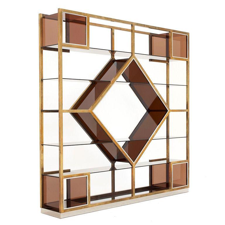 Rare Freestanding Brass Room Divider Attributed To Romeo Rega 1stdibs Com Room Divider Room Partition Designs Living Room Partition Design