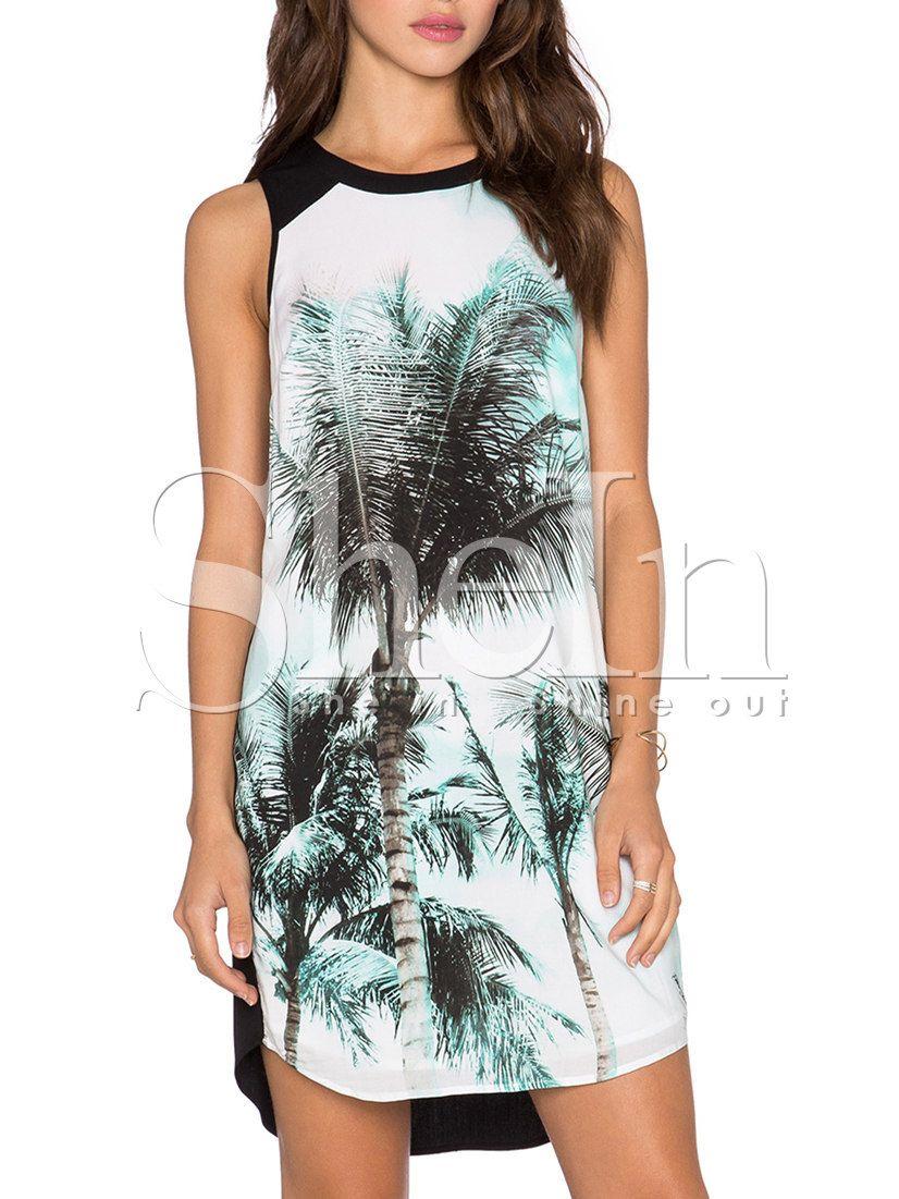 White Black Sleeveless Trees Print Dress-SheIn