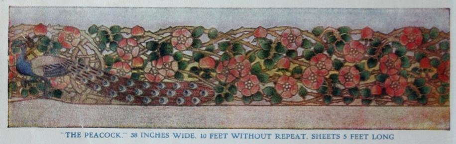 Peacock wallpaper border by Empire Wallpaper Co. 1914