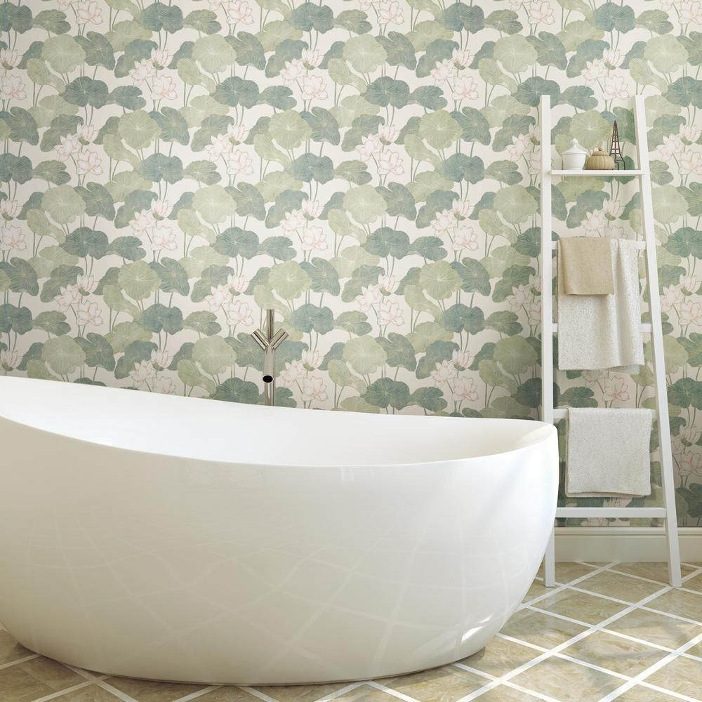 Lily Pad Peel And Stick Wallpaper Apartment Decorating Rental Peel And Stick Wallpaper Rental House Decorating