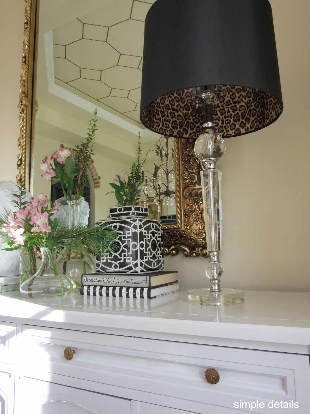 Simple details diy lamp shade with leopard print lining home simple details diy lamp shade with leopard print lining aloadofball Images