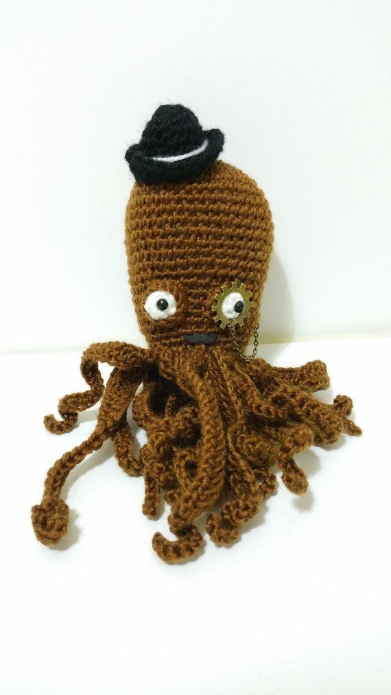 STEAMPUNK OCTOPUS PLUSH 4\'\' crochet horror cosmic por Kutuleras ...
