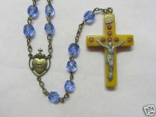 "† RARE VINTAGE HTF BAKELITE VIEWER ""SEVEN SORROWS"" STANHOPE CRUCIFIX ROSARY †"