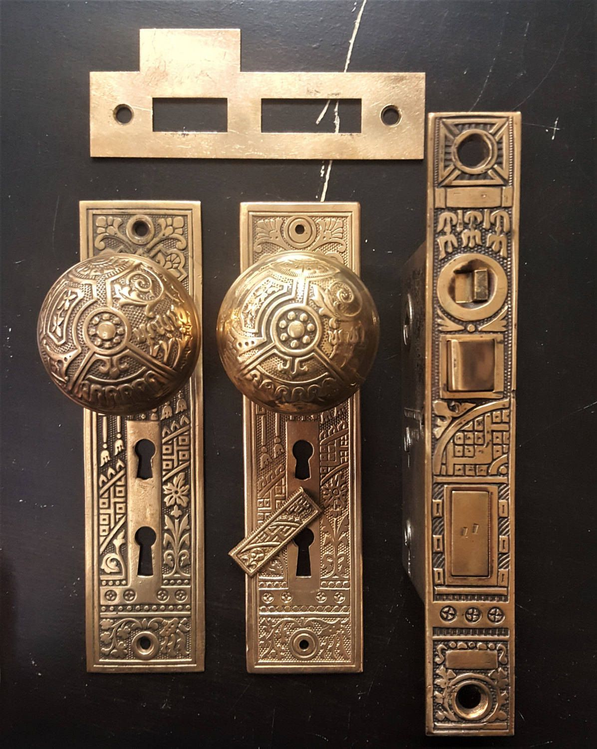1895 P&F Corbin Ceylon Pattern Antique Entry Door Set With Working Mortise  Lock by CharlestonHardwareCo on Etsy - 1895 P&F Corbin Ceylon Pattern Antique Entry Door Set With Working