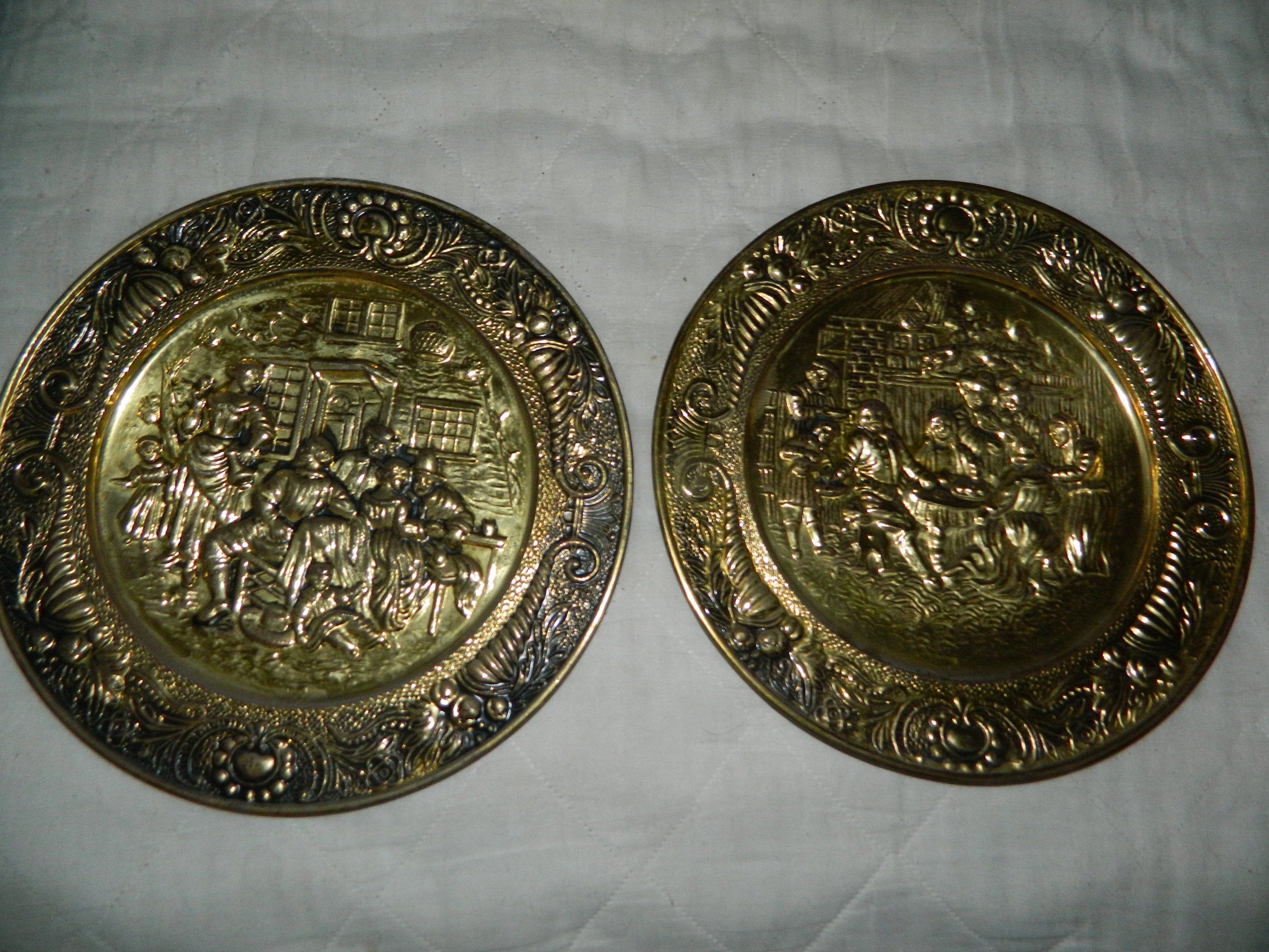 Vintage Set Of Old English Embossed Brass Plates A Pair Of Etsy Brass Wall Hanging Plates On Wall Brass Decor
