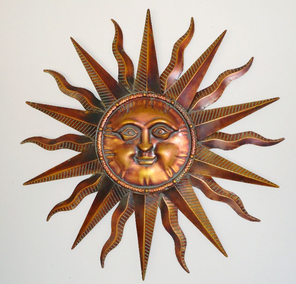 "Sun  Metal Wall Art 14/"" x 11/"" Wall Decor New Yellow//Orange"