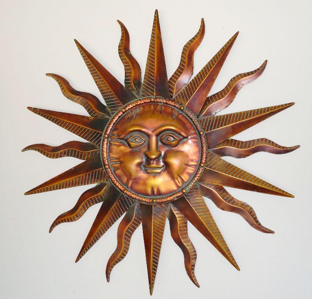 Copper patina sun face extra large sunburst metal wall art hanging