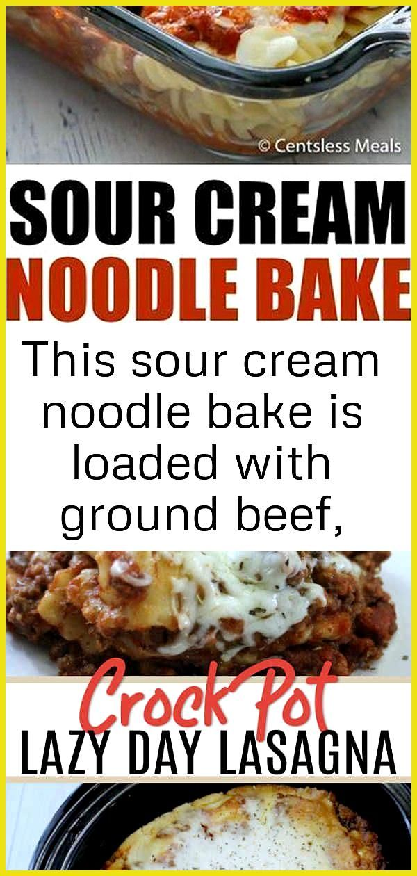 This sour cream noodle bake is loaded with ground beef smothered with 3 different types of cheese 5