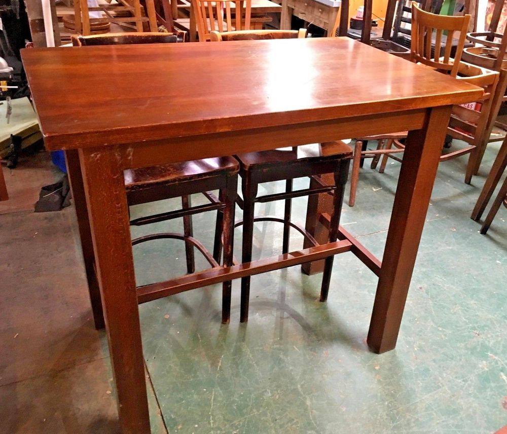 4 FT OBLONG TOP POSEUR TABLE / SOLID / PUB / BAR / BISTRO / TALL