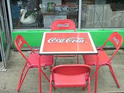 Cola Antique 1950s Coca Porcelain Top Table Four Metal Chairs