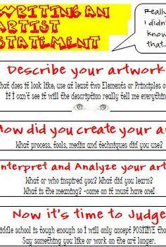 Art Statement/CritiqueMiddle School Art rubric, Art