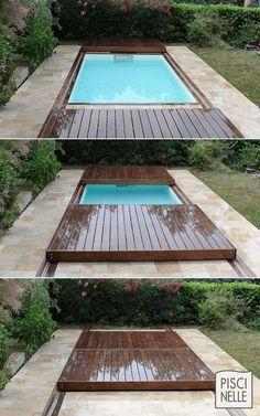 skjutbart trädäck över pool