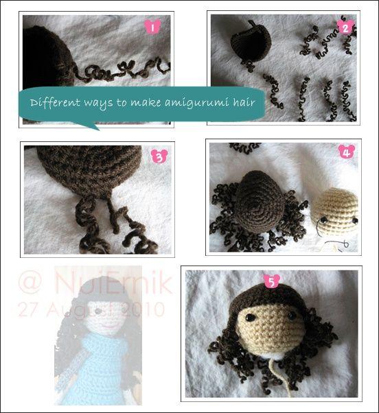 Amigurumi hair | Yarn | Pinterest | Pelo de muñeca, Muñecos en ...