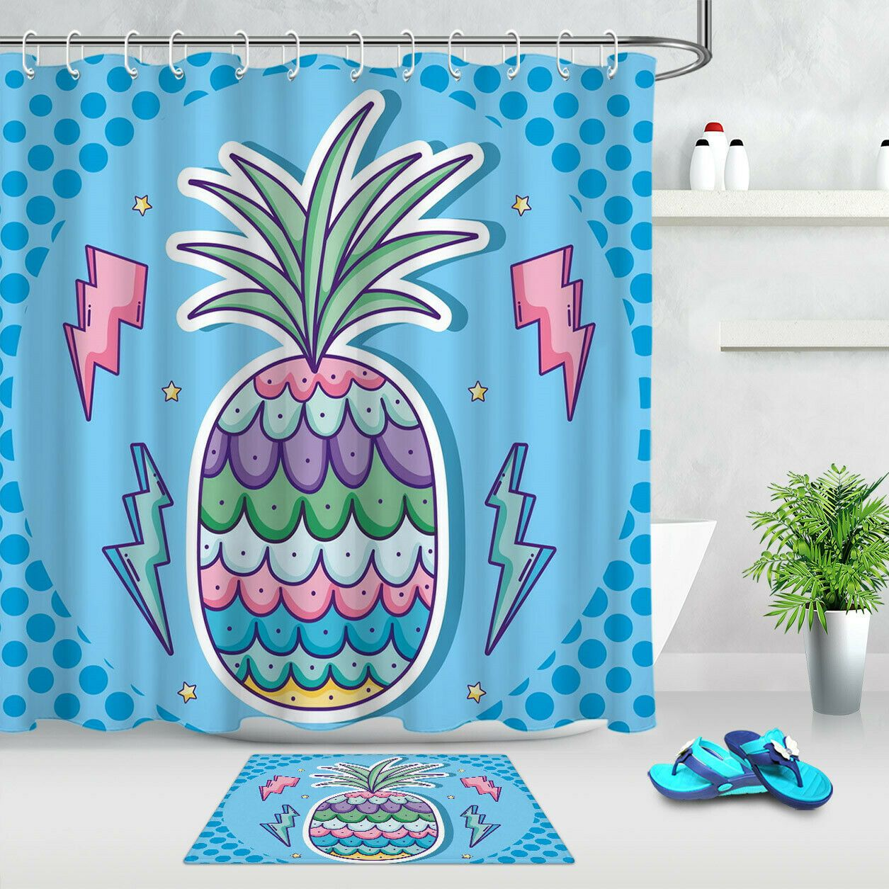 Colored Pineapple Shower Curtain Bathroom Home Decor Waterproof