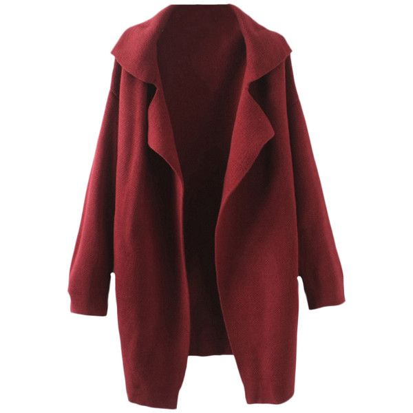 Blackfive Lapels Md-long Knitting Coat (€38) ❤ liked on Polyvore featuring outerwear, coats, jackets, tops, long knit coat, long lapel coat, knit coat, lapel coat and red coat