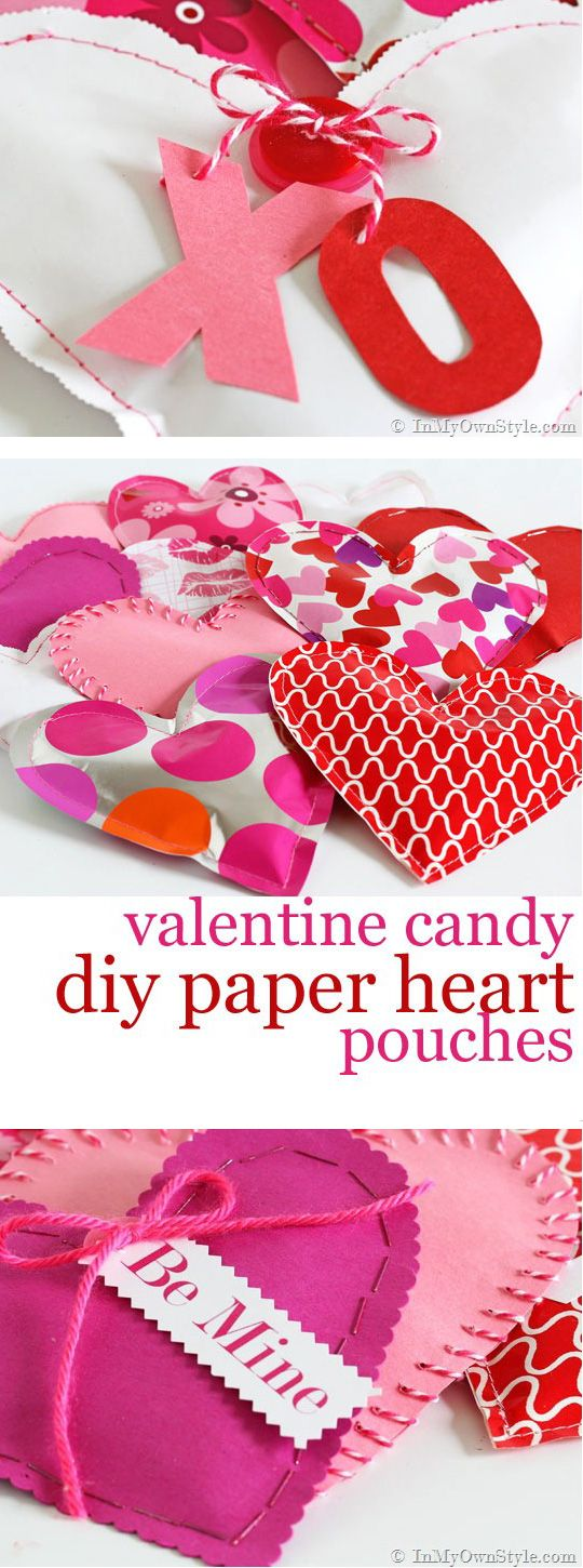 February 14th is coming ...be ready with these Valentine's Day Valentines candy heart pouches. Easy DIY to make using gift wrap or scrapbook paper. Perfect to give as gifts to all the ones you love XO