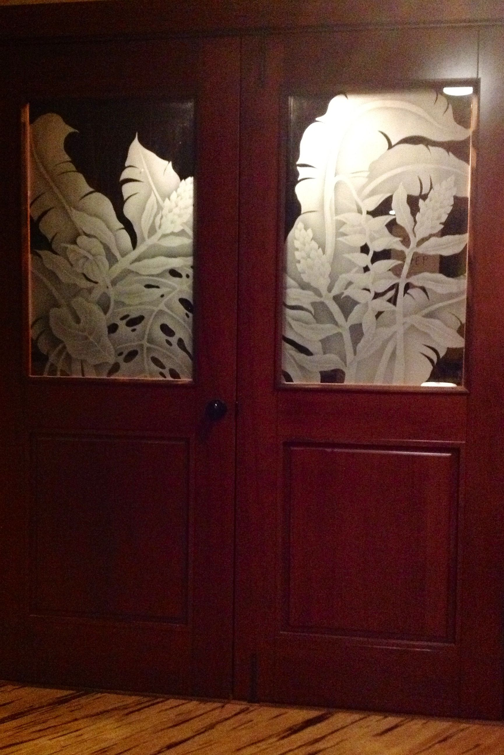 Etched Glass front double doors in Honolulu art by Cory Kot & Etched Glass front double doors in Honolulu art by Cory Kot ...