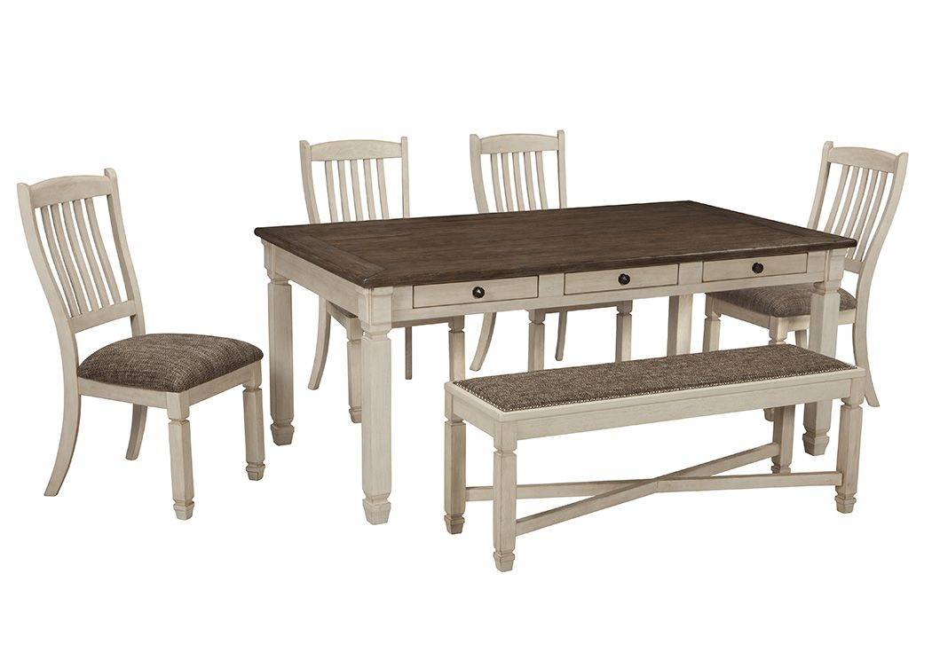 Finders Keepers Bolanburg Antique White Rectangular Dining Room Table W/4  Upholstered Side Chairs U0026 Bench