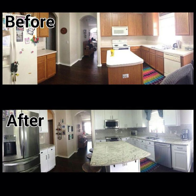 Old Kitchen Before And After: Before And After Kitchen With Antique White Granite