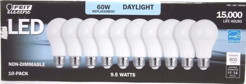 Feit 60w Led Bulbs 9 Pack 60 Watt Replacement 800 Lumens Uses Only 9 5 Watts Feitelectric With Images Led Bulb Bulb Led