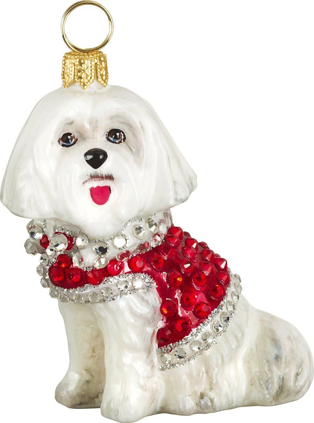 Maltese christmas ornaments - The Pet Set Maltese With Austrian Crystals Glass Christmas Ornament Handcrafted In Europe By Joy