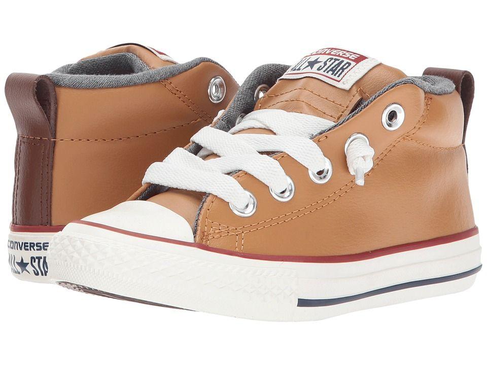 4f1701c9183f Converse Kids Chuck Taylor All Star Street Leather and Fleece Mid (Little  Kid Big Kid) Boys Shoes Raw Sugar Terra Red Navy